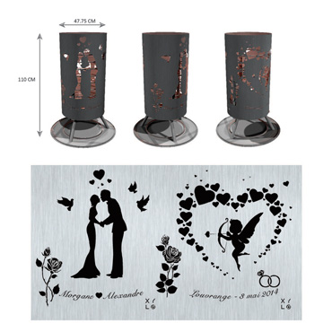 Brazier - Wedding - Newly-weds, Cupid and Roses.